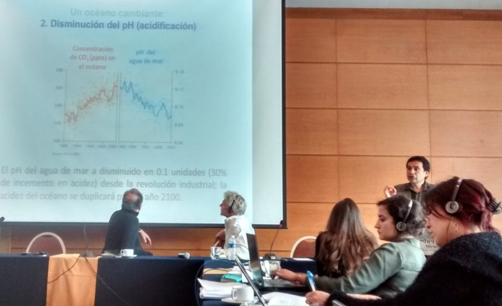 El Dr. Osvaldo Ulloa expone sobre los océanos y el cambio climático. Media Training sobre Conservación Marina. Earth Journalism Network - Fundación Bertarelli. Foto: Damián Profeta. Licencia: CC BY-NC.