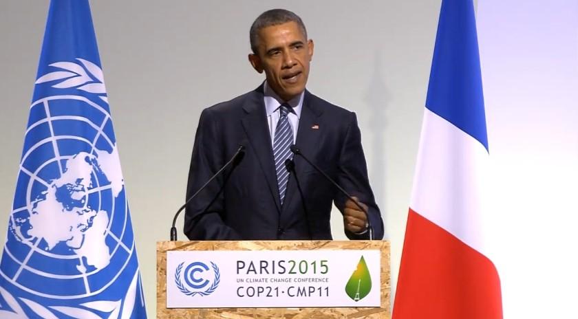 Barack Obama dio uno de los discursos principales de la COP21 de París. Foto: UNFCCC webcast.