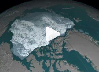 El cambio climático está causando el derretimiento del hielo del Ártico. Imagen: NASA.