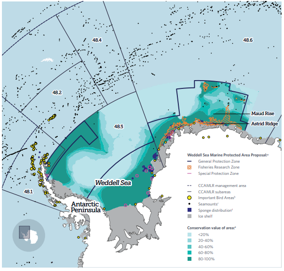 Mapa de la propuesta de írea Marina Protegida en el Mar de Weddell en la Antártida. Imagen: The Pew Charitable Trusts.