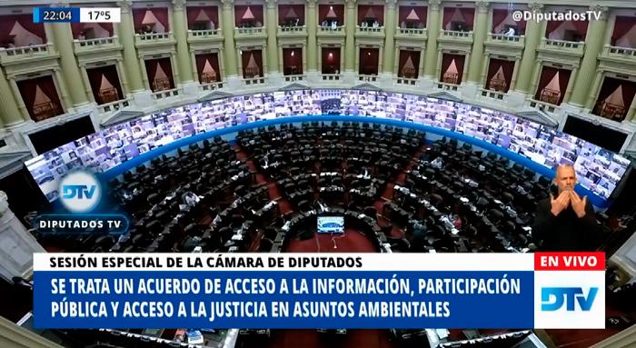 Argentina ratificó el Acuerdo de Escazú. Foto: captura de Diputados TV.